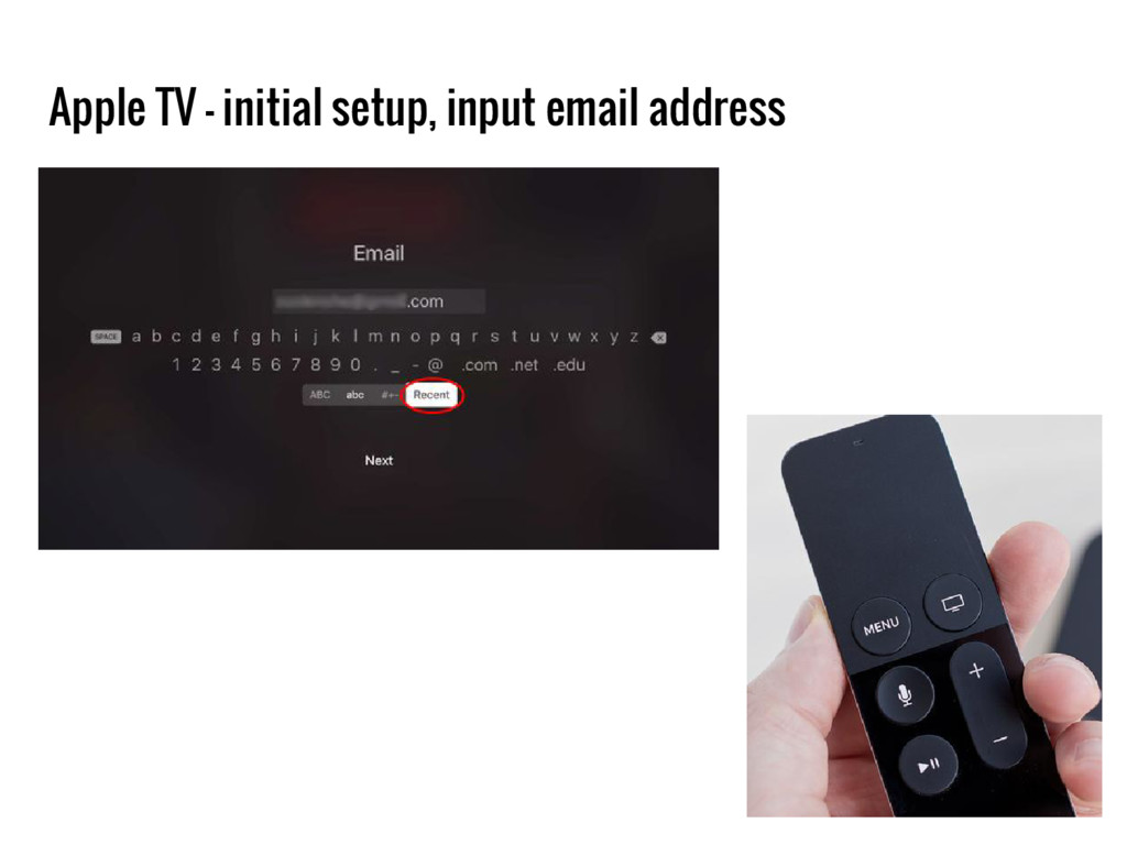 Apple TV - initial setup, input email address