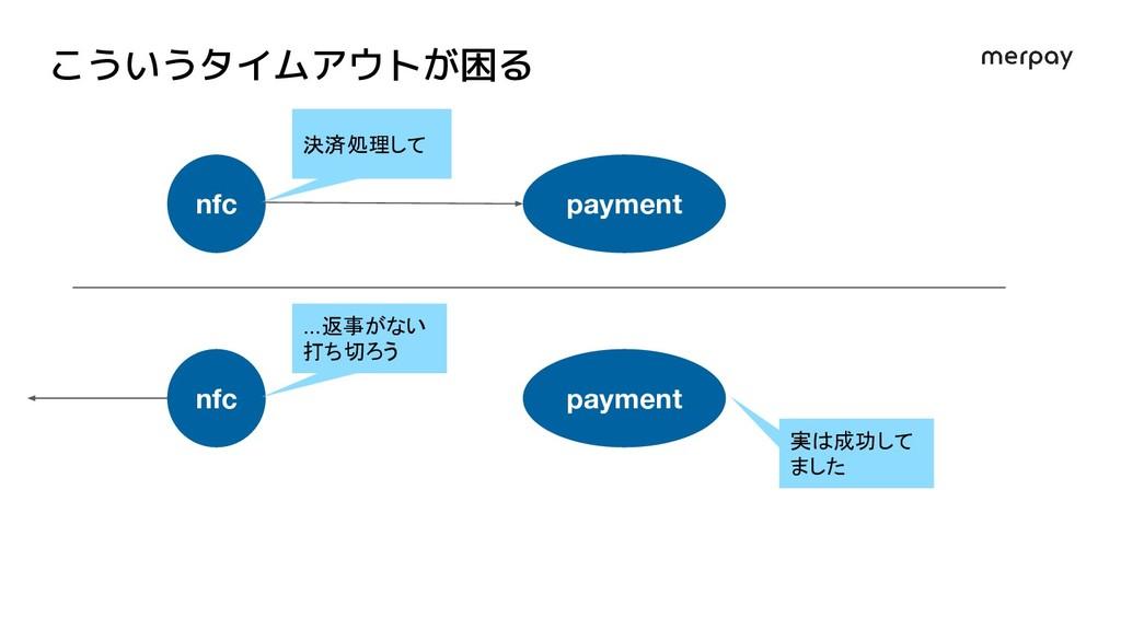 こういうタイムアウトが困る nfc payment 決済処理して nfc payment .....