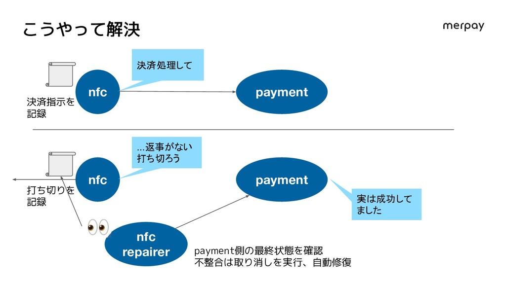 こうやって解決 nfc payment 決済処理して nfc payment ...返事がない...