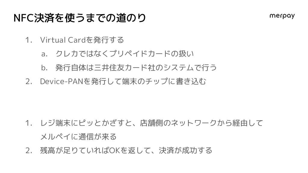 NFC決済を使うまでの道のり 1. Virtual Cardを発行する a. クレカではなくプ...