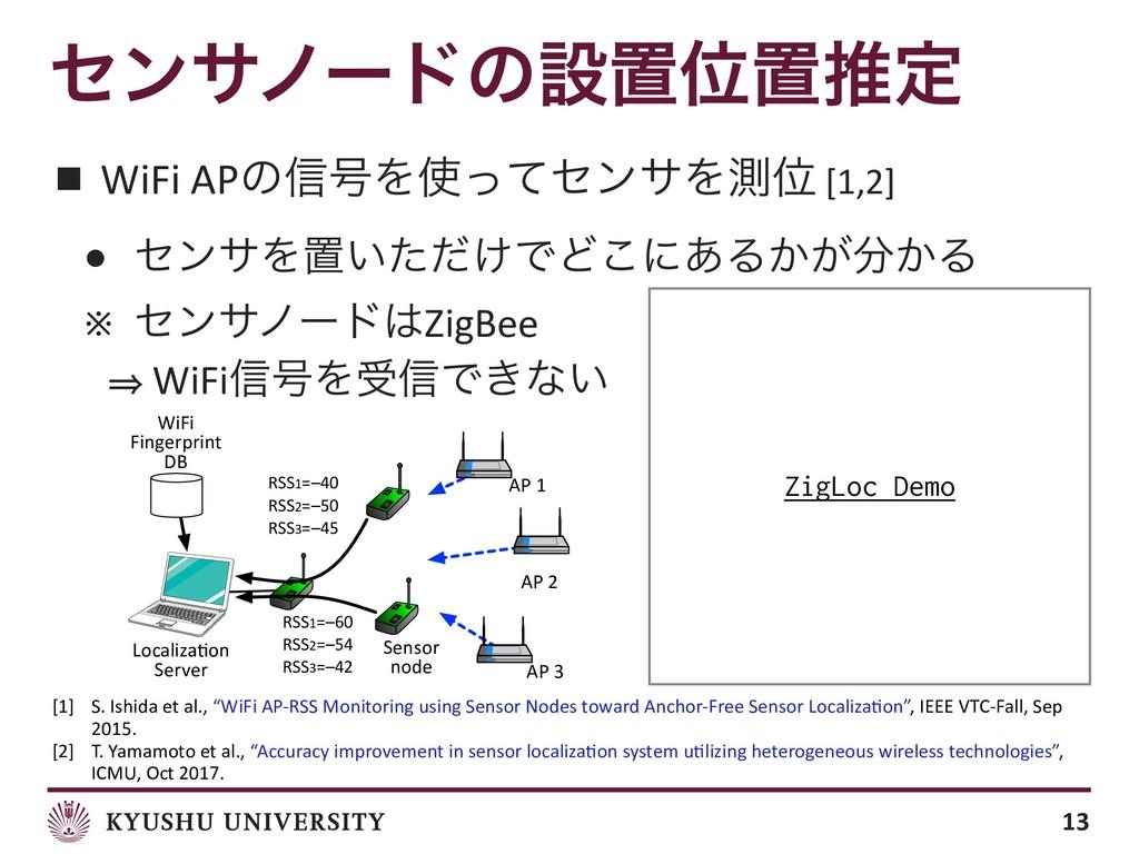 ηϯαϊʔυͷઃஔҐஔਪఆ ■ WiFi APͷ৴߸ΛͬͯηϯαΛଌҐ [1,2] ● ηϯ...