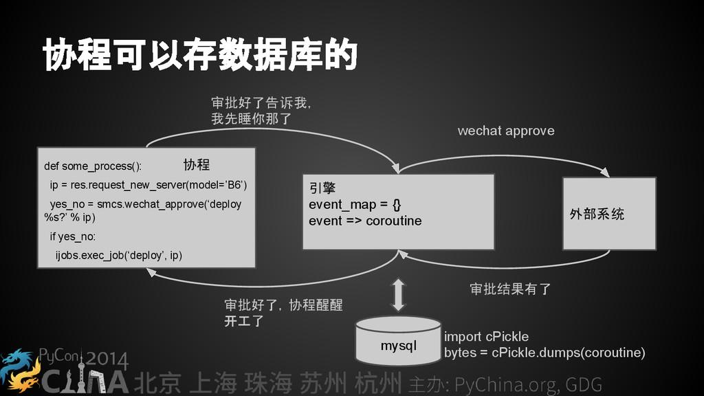 协程可以存数据库的 def some_process(): ip = res.request_...