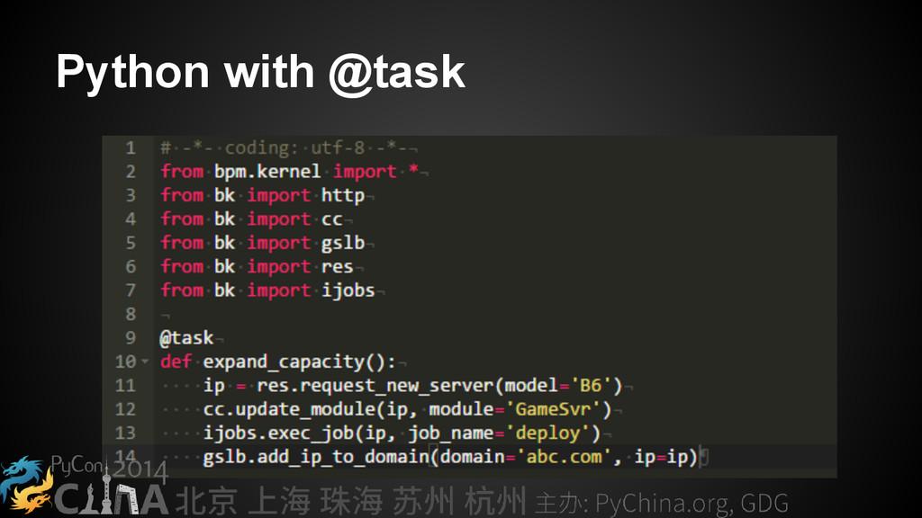 Python with @task