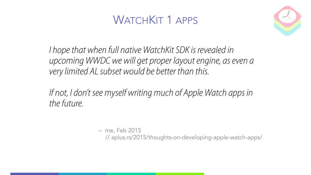 WATCHKIT 1 APPS I hope that when full native Wa...