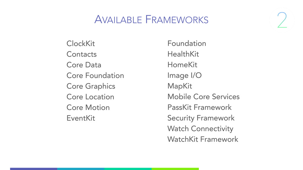 AVAILABLE FRAMEWORKS ClockKit Contacts Core Dat...