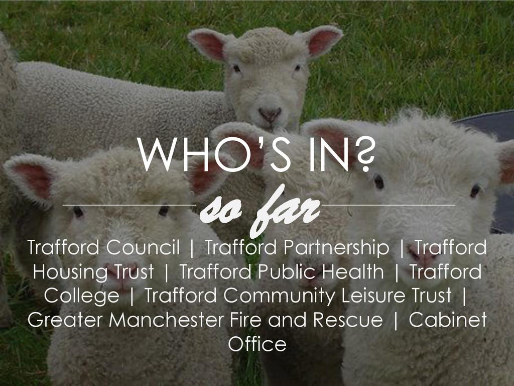 WHO'S IN? so far Trafford Council | Trafford Pa...