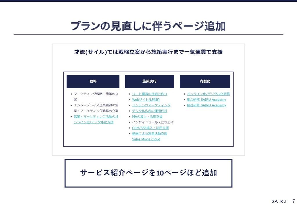 7 サービス紹介ページを10ページほど追加