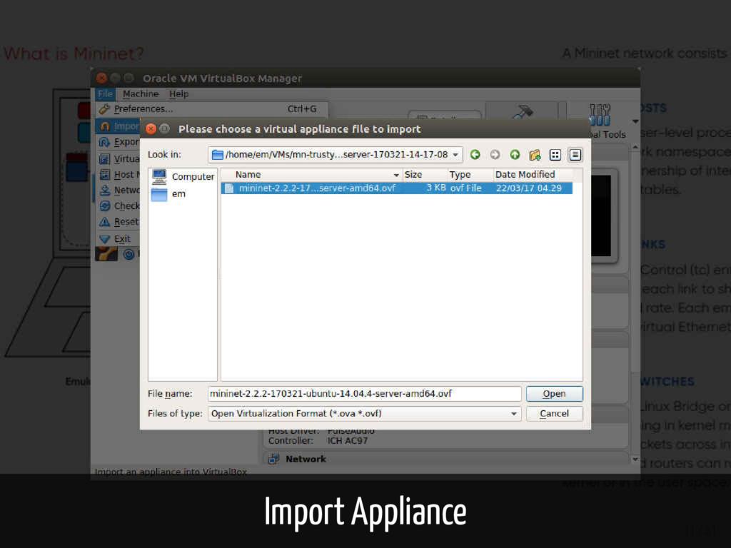 Import Appliance 11 / 61