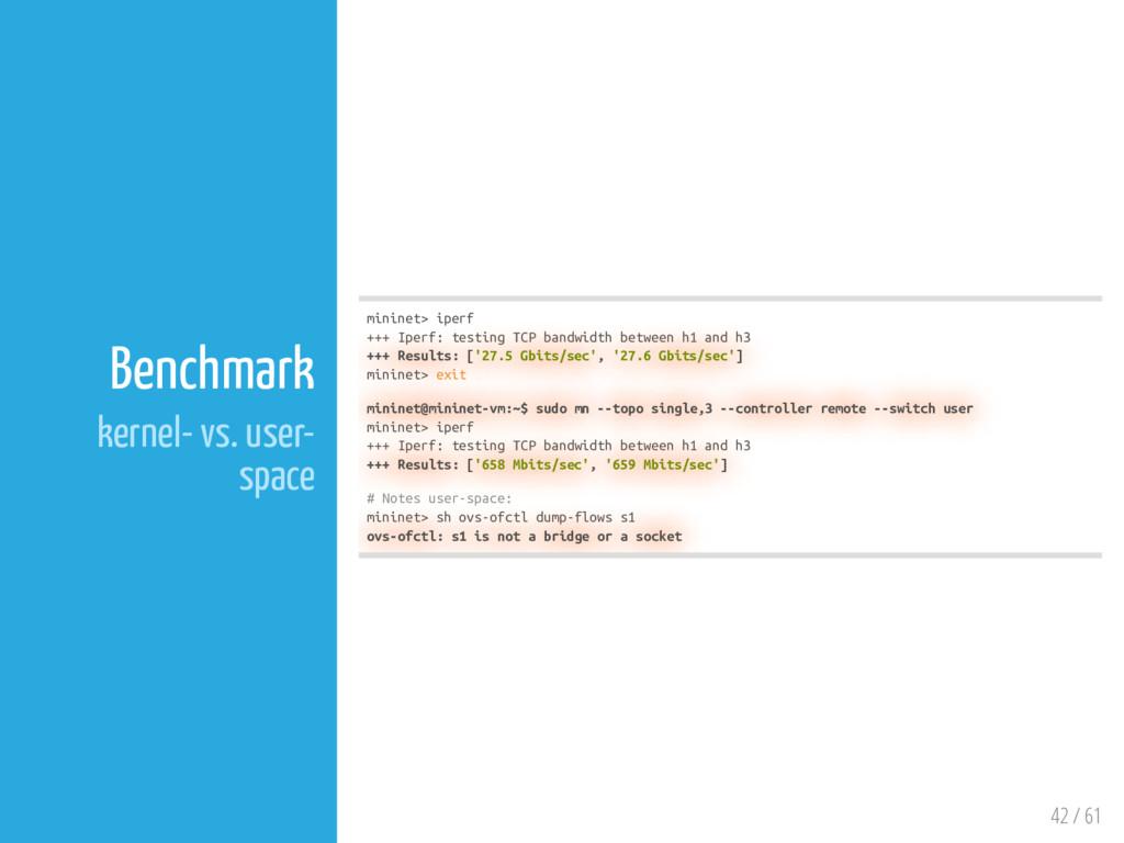 42 / 61 Benchmark kernel- vs. user- space minin...