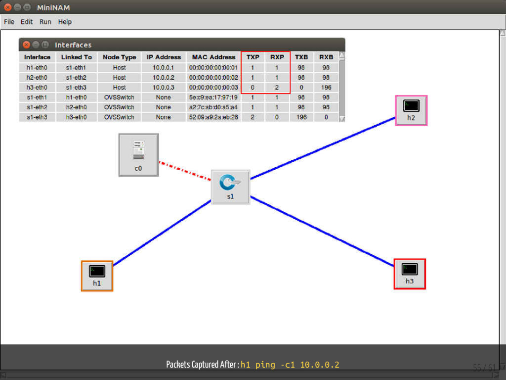 Packets Captured After : h1 ping -c1 10.0.0.2 5...