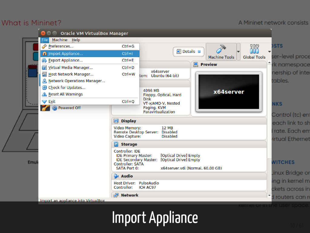 Import Appliance 10 / 61