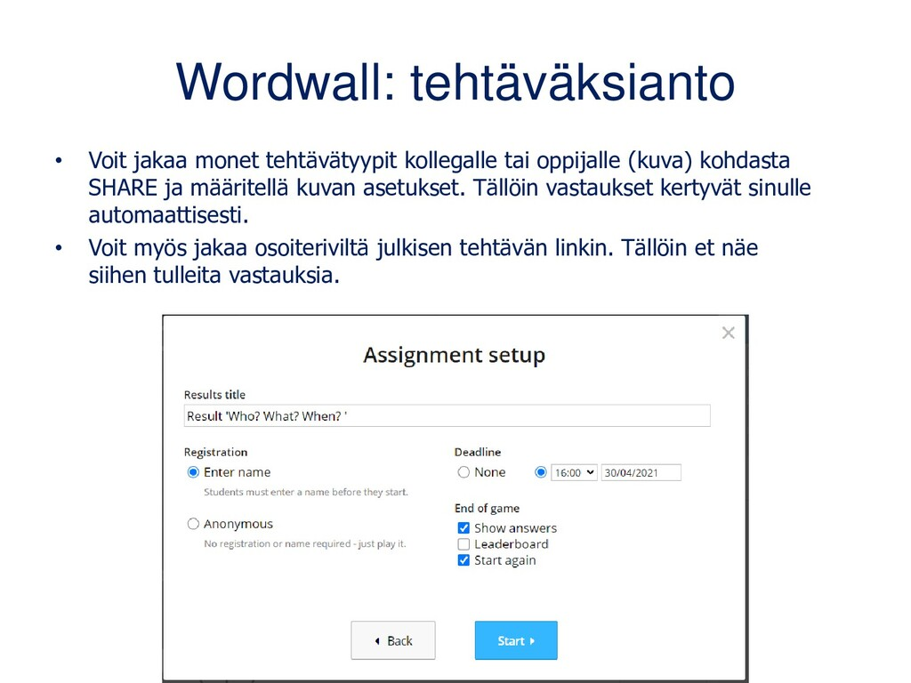 Wordwall: tehtäväksianto • Voit jakaa monet teh...