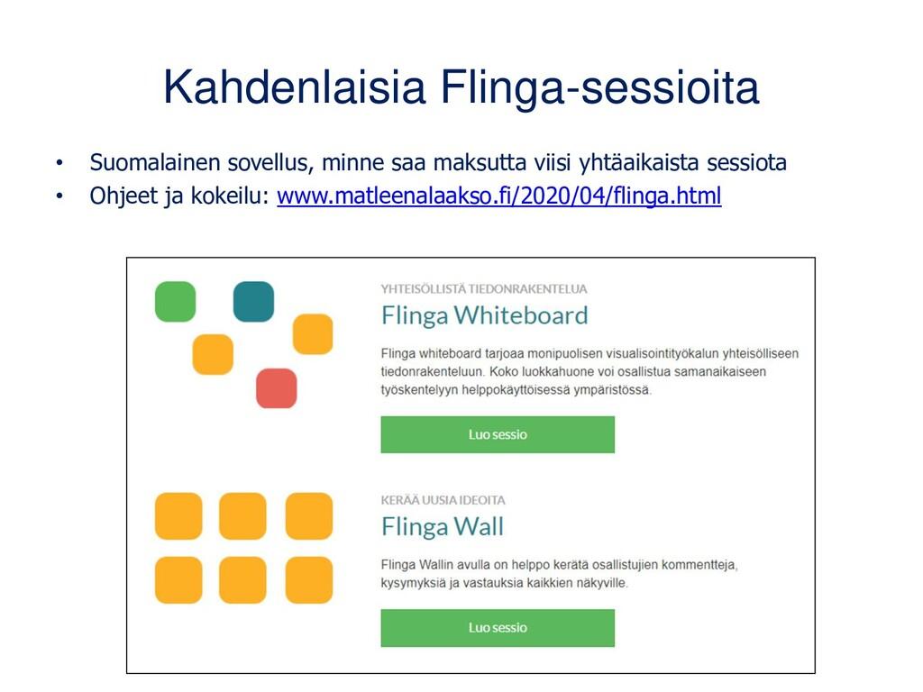 Kahdenlaisia Flinga-sessioita • Suomalainen sov...