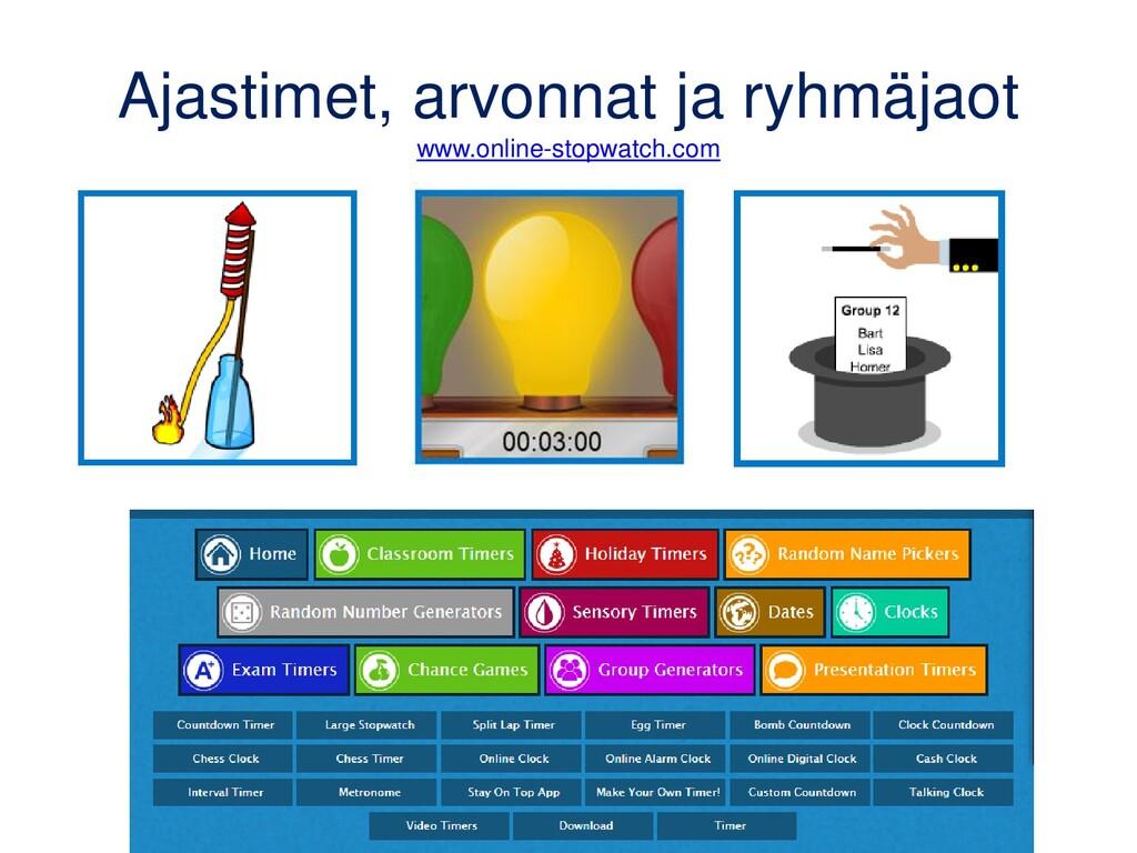 Ajastimet, arvonnat ja ryhmäjaot www.online-sto...