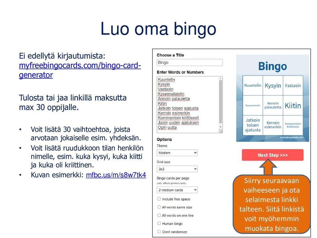 Luo oma bingo Ei edellytä kirjautumista: myfree...