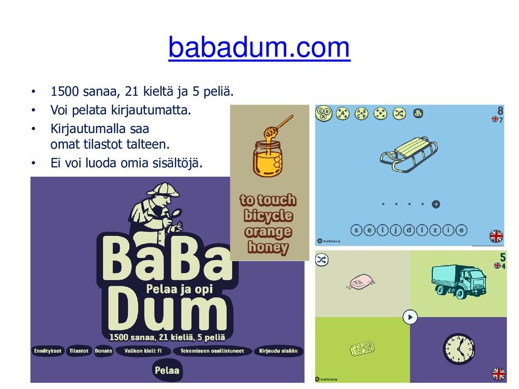 babadum.com • 1500 sanaa, 21 kieltä ja 5 peliä....