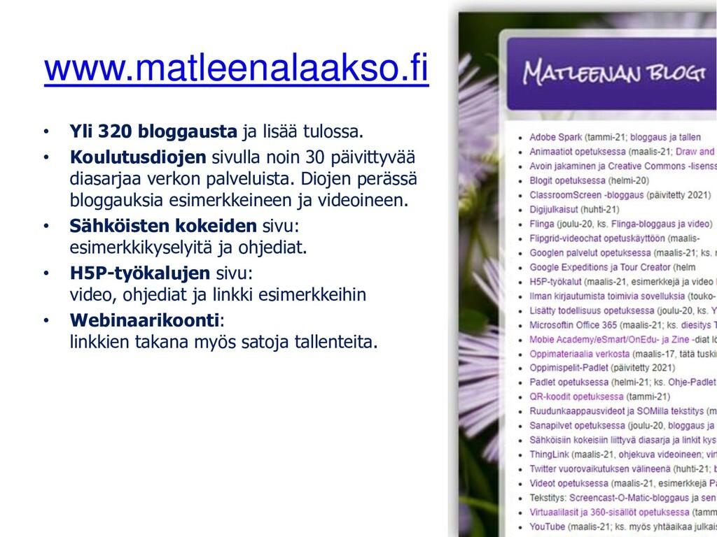 www.matleenalaakso.fi • Yli 320 bloggausta ja l...