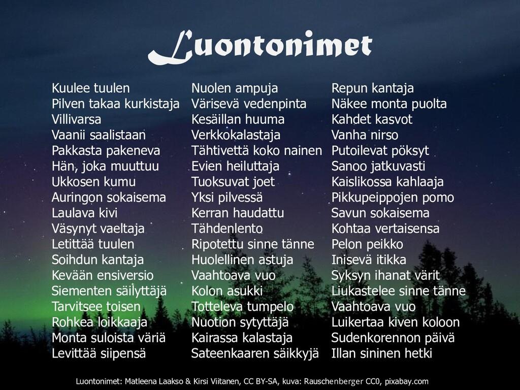 Luontonimet Luontonimet: Matleena Laakso & Kirs...