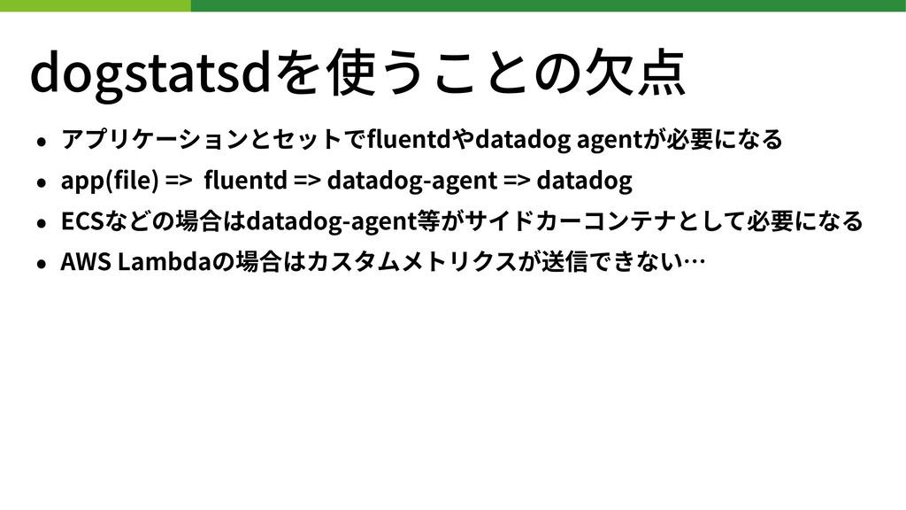 dogstatsdを使うことの⽋点 • アプリケーションとセットでfluentdやdatadog...