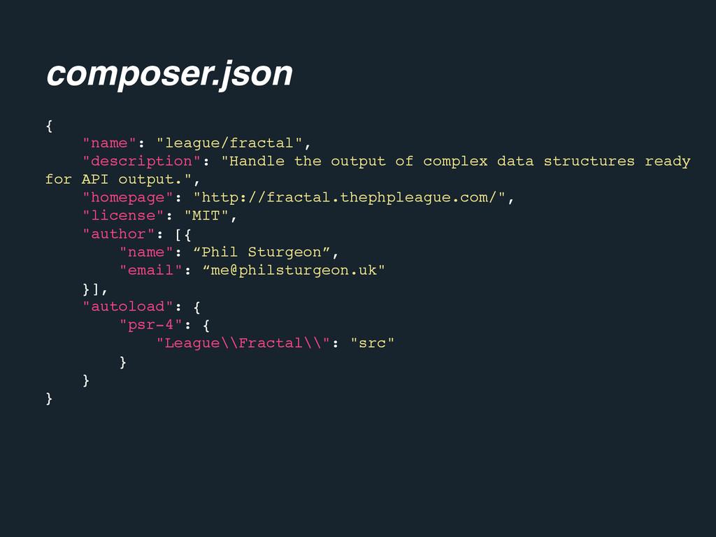 "composer.json { ""name"": ""league/fractal"", ""desc..."