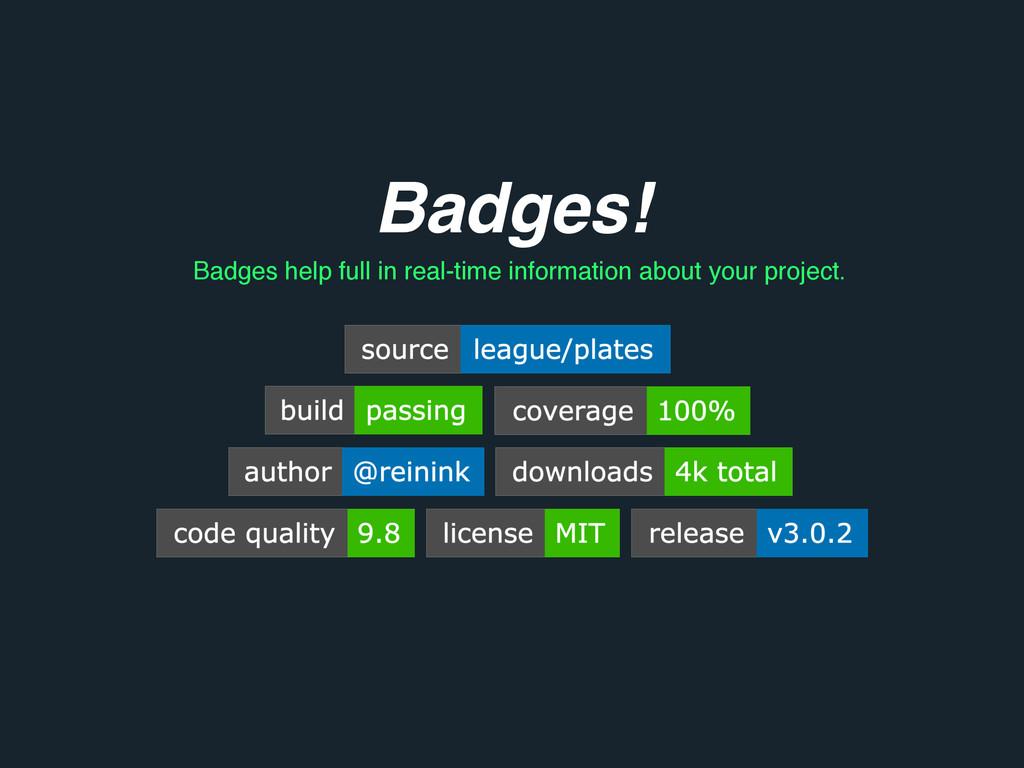 Badges! Badges help full in real-time informati...
