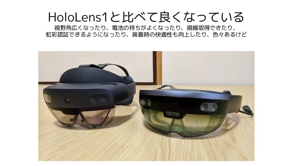 HoloLens1と比べて良くなっている 視野角広くなったり、電池の持ちがよくなったり、視線取...