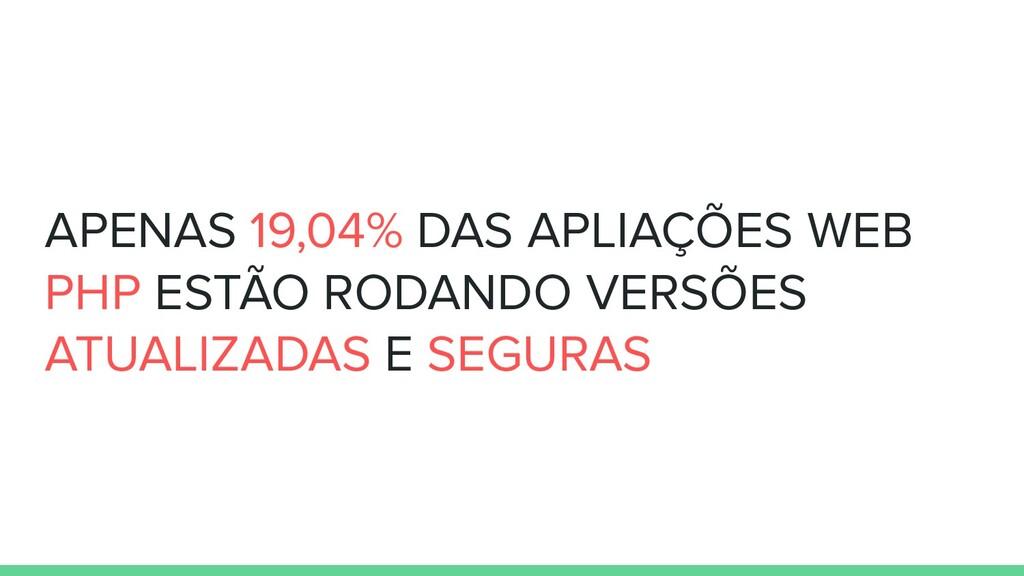 APENAS 19,04% DAS APLIAÇÕES WEB PHP ESTÃO RODAN...