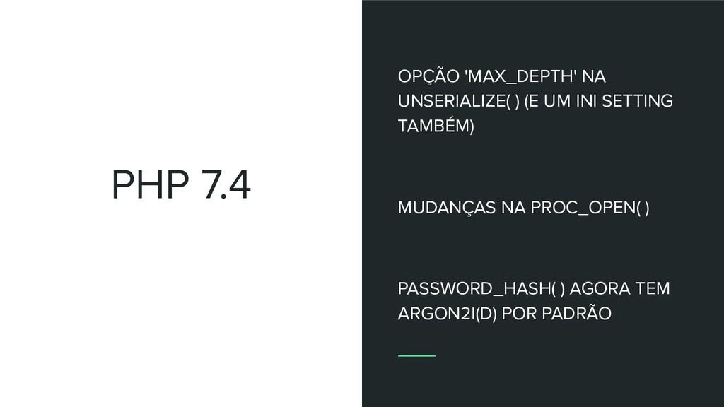 PHP 7.4 OPÇÃO 'MAX_DEPTH' NA UNSERIALIZE( ) (E ...