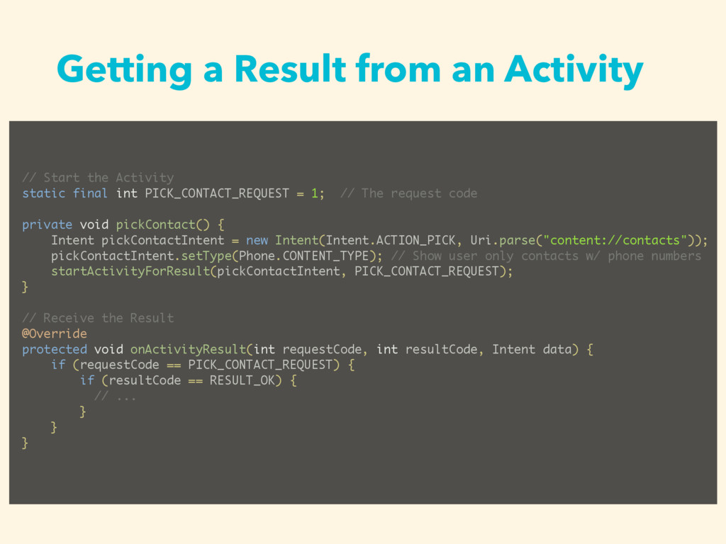 Getting a Result from an Activity // Start the ...