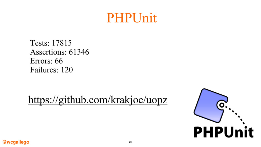 26 PHPUnit Tests: 17815 Assertions: 61346 Error...