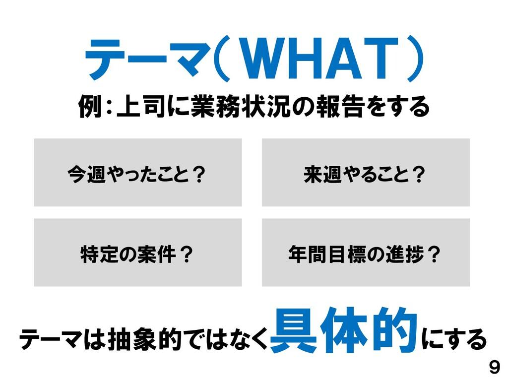 テーマ(WHAT) 9 テーマは抽象的ではなく 具体的にする 例:上司に業務状況の報告をする ...