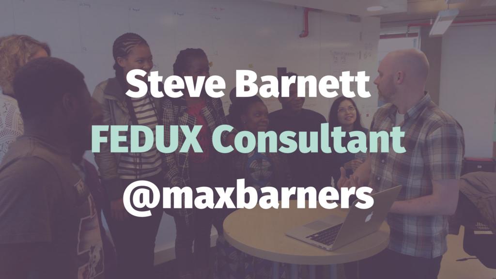 Steve Barnett FEDUX Consultant @maxbarners