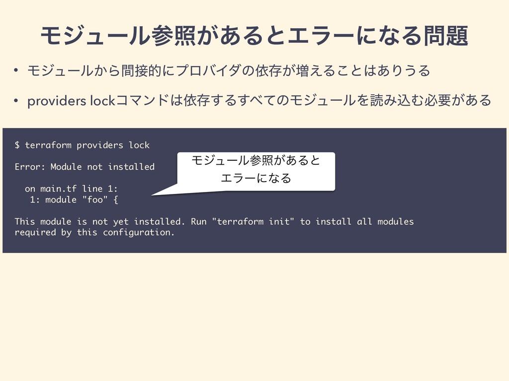 $ terraform providers lock Error: Module not in...