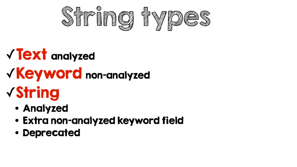 String types ✓Text analyzed ✓Keyword non-analyz...