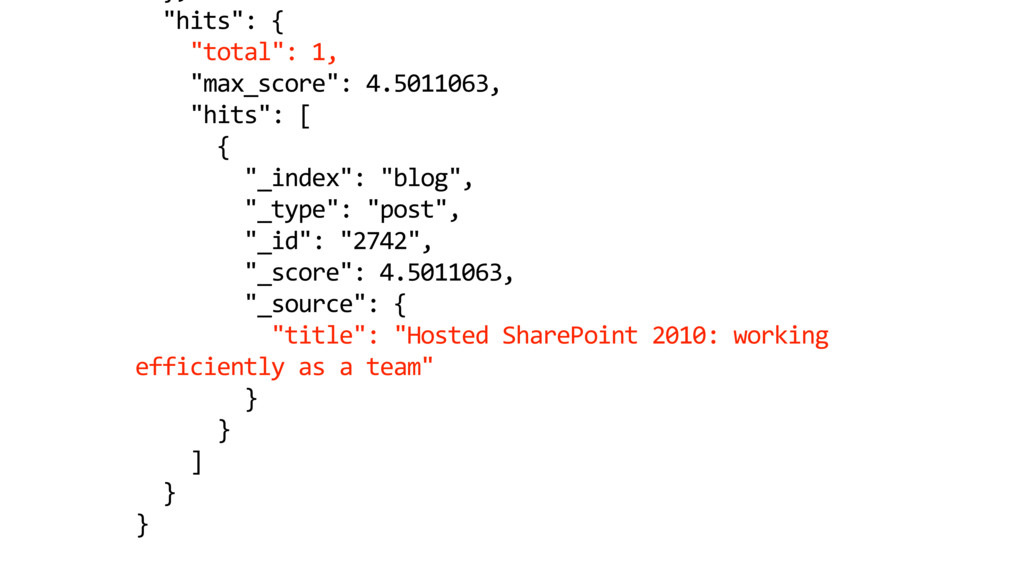 """hits"": { ""total"": 1, ""max_score"": 4.5011063, ""..."