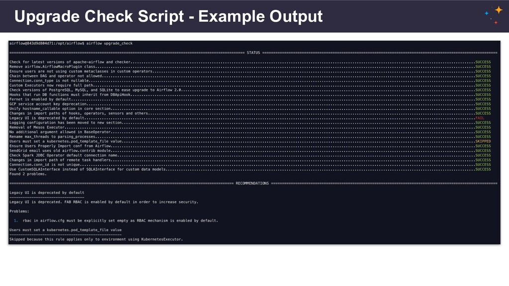 Upgrade Check Script - Example Output
