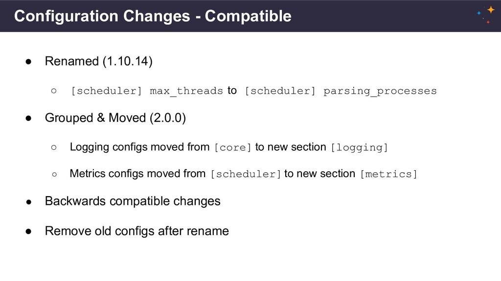 Configuration Changes - Compatible ● Renamed (1...