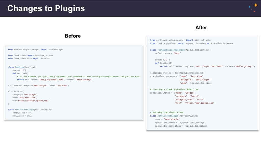 Changes to Plugins Before After