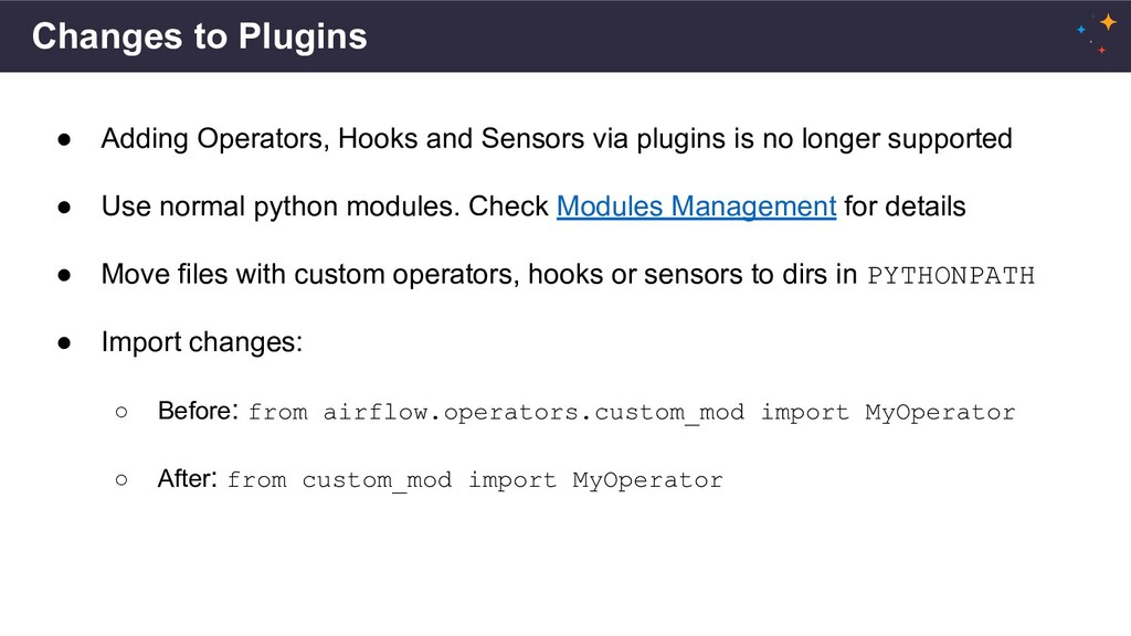 Changes to Plugins ● Adding Operators, Hooks an...