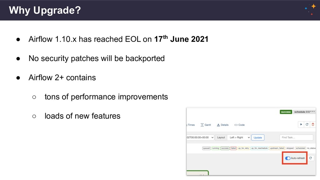 Why Upgrade? ● Airflow 1.10.x has reached EOL o...