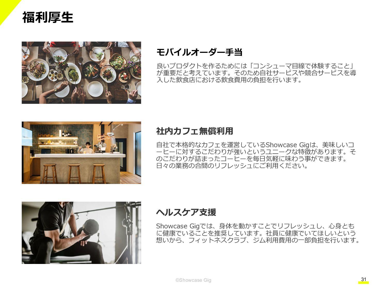 31 ©Showcase Gig オフィス環境 広々とした共用エリアでは、定期的にイベントなど...