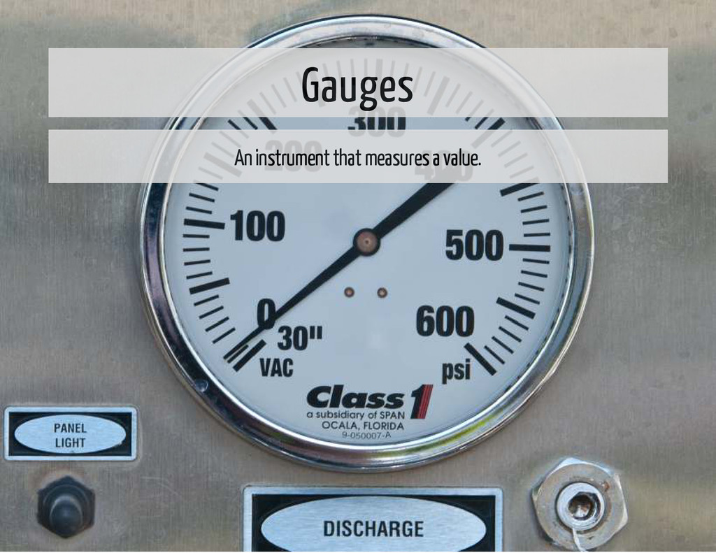 Gauges An instrument that measures a value.