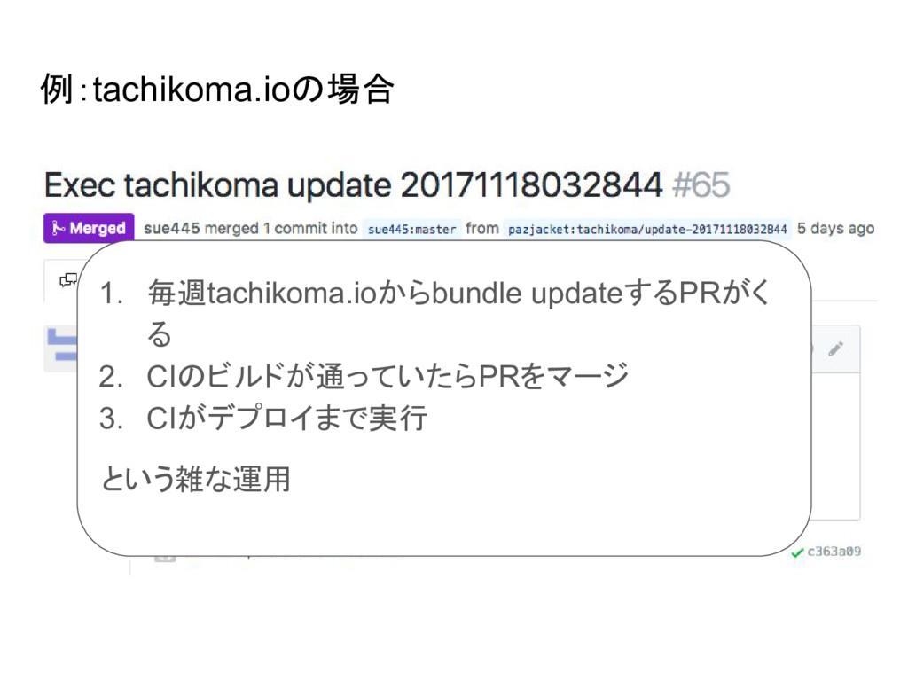 例:tachikoma.ioの場合 ● 1. 毎週tachikoma.ioからbundle u...