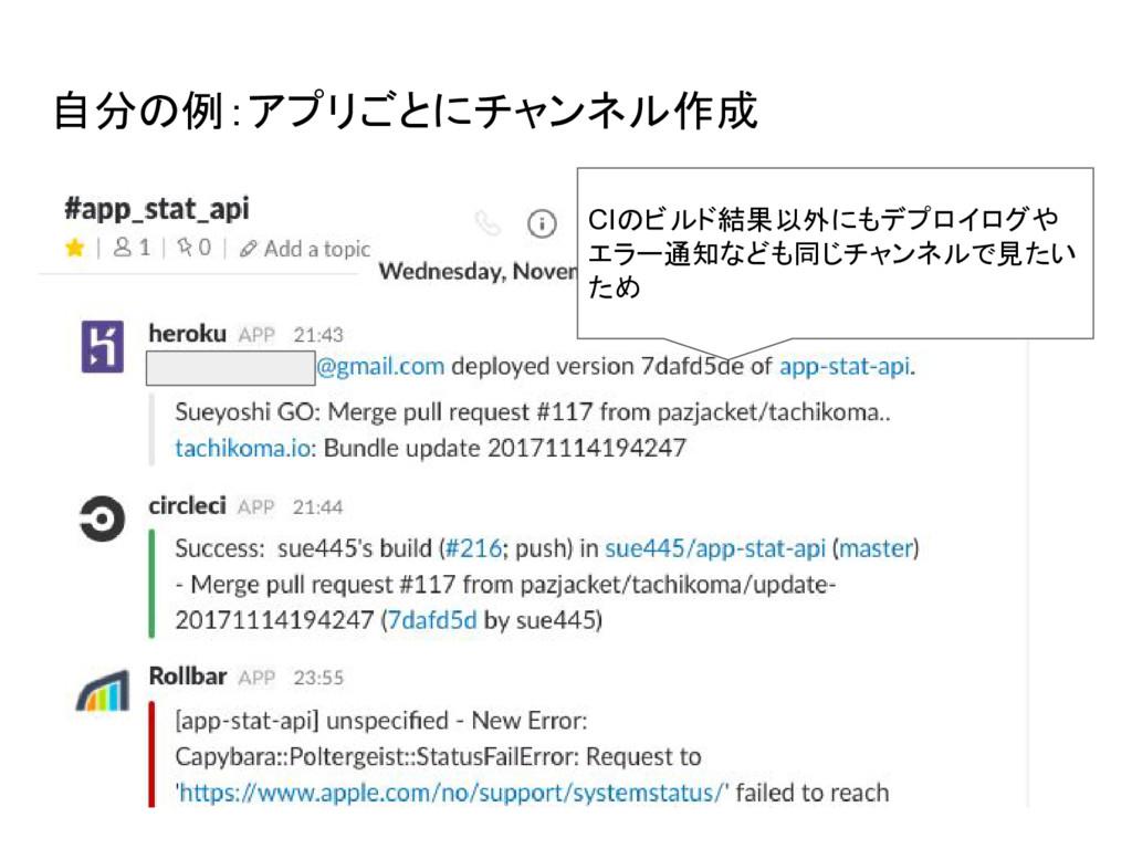 自分の例:アプリごとにチャンネル作成 CIのビルド結果以外にもデプロイログや エラー通知なども...