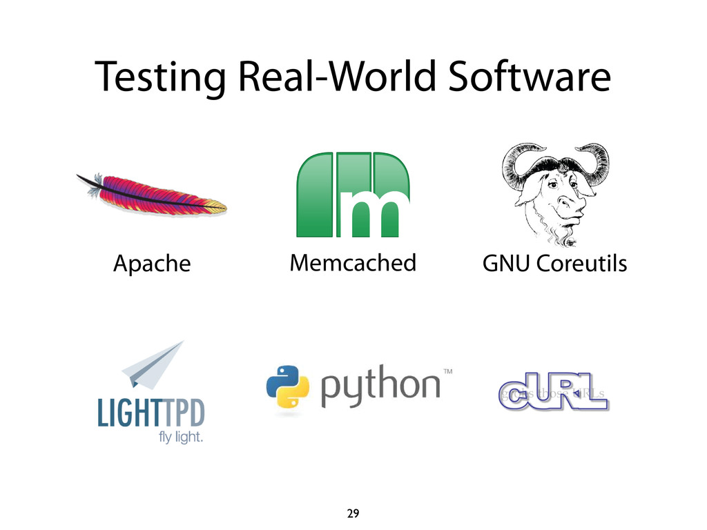 Testing Real-World Software 29 Memcached GNU Co...
