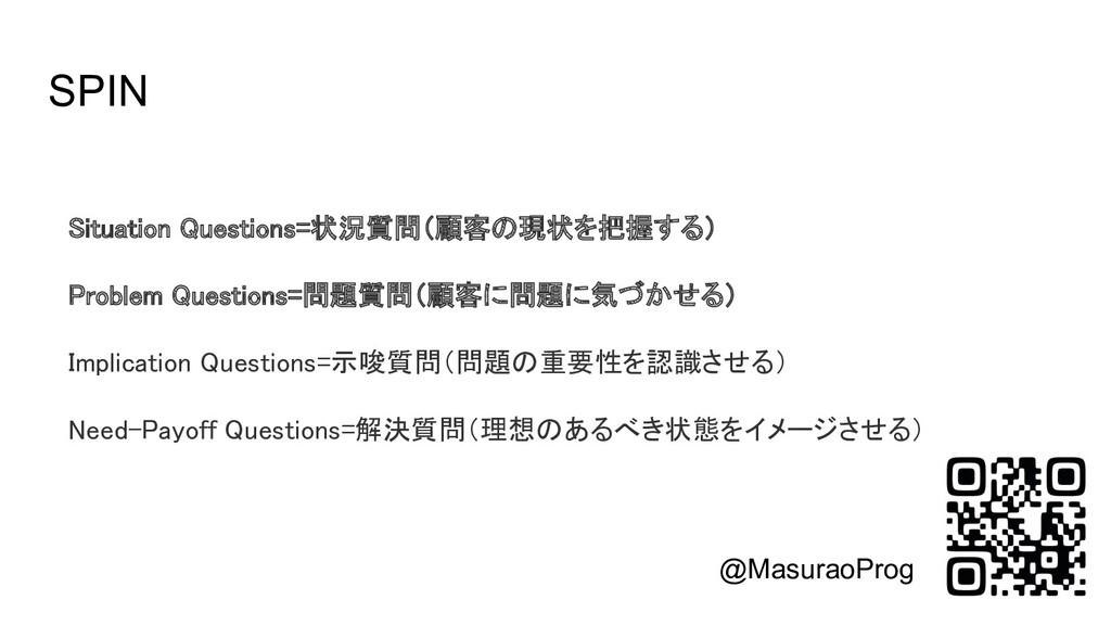 SPIN Situation Questions=状況質問(顧客の現状を把握する)  Pr...