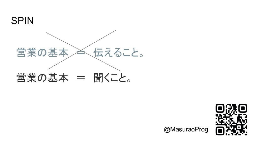 SPIN 営業の基本 = 伝えること。  営業の基本 = 聞くこと。 @MasuraoP...