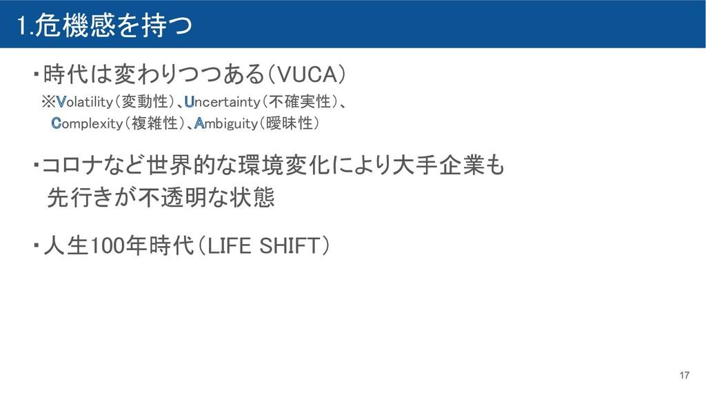1.危機感を持つ ・時代は変わりつつある(VUCA)  ※Volatility(変動性)、...