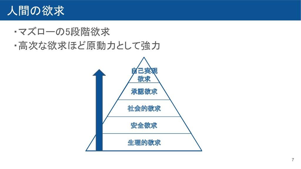 人間の欲求 ・マズローの5段階欲求 ・高次な欲求ほど原動力として強力 7 生理的欲求 ...