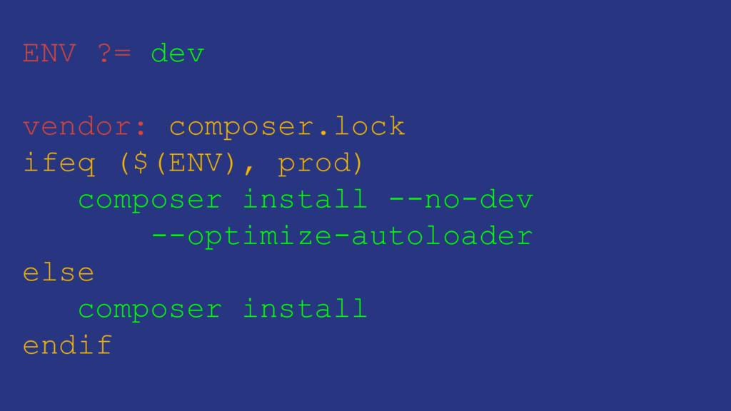 ENV ?= dev vendor: composer.lock ifeq ($(ENV), ...